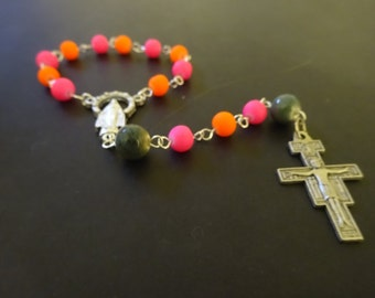 Neon Pink and Orange One Decade Rosary Chaplet with San Damiano Crucifix