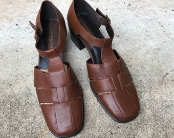 Vintage Brown Leather Mary Janes | T Strap Sandals | US Women's 8 9