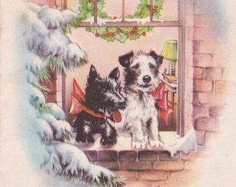 Vintage retro Christmas card dog terrier Scottie digital download printable instant image