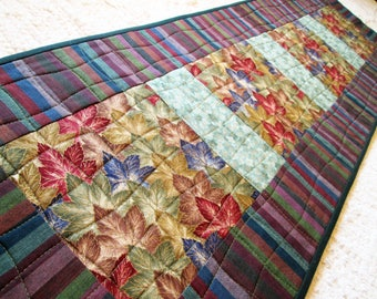 Asian Inspired Spring Leaves Quilted Table Runner