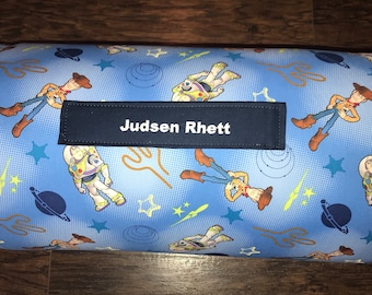 """Preschool Nap Mat in Toy Story with Pillow, Minky Blanket and 1"""" memory foam"""