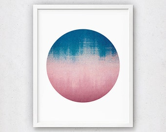 Large Circle Print, Navy and Pink Art, Abstract Painting, Modern Printable, Circle Poster, Pink Bedroom Decor, Blush Pink Artwork, Office