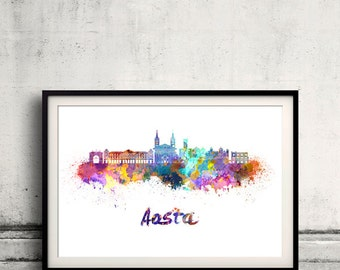 Aosta skyline in watercolor over white background with name of city - SKU 2275