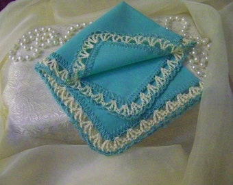 Aqua Handkerchief, Hanky, Turquoise, Hand Crochet, Cream, Personalized, Monogrammed, Embroidered, Bridesmaids, Lace, Lacy, Ready to ship