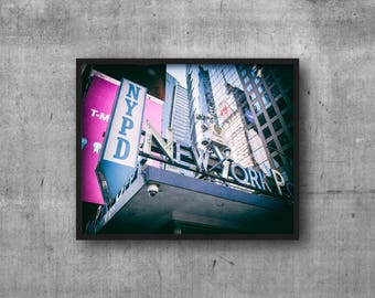 NYPD Neon Sign - New York Police Department - Times Square - NYC Sign Photography Print - art photo