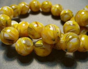 Yellow  Resin  Mother of Pearl Round Bead 14MM