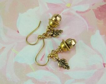 Acorn Earrings, Jingle Bell Earrings, Gold Acorn Earrings, Belgariad Earrings, Ce'Nedra Earrings, David Eddings Ce'Nedra,Acorn Bell Earrings