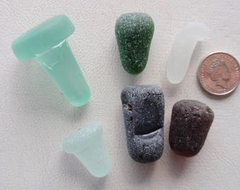 English sea glass stoppers 1 full 2 part, 3 coloured worn stems
