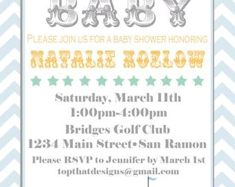 Circus/Carnival Baby Shower Invitations- Printable