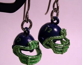 12th Woman Seahawks Earrings 12th Man Helmet