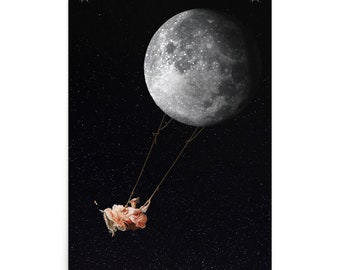 Swinging on the Moon Poster - Beautiful Outer Space Poster