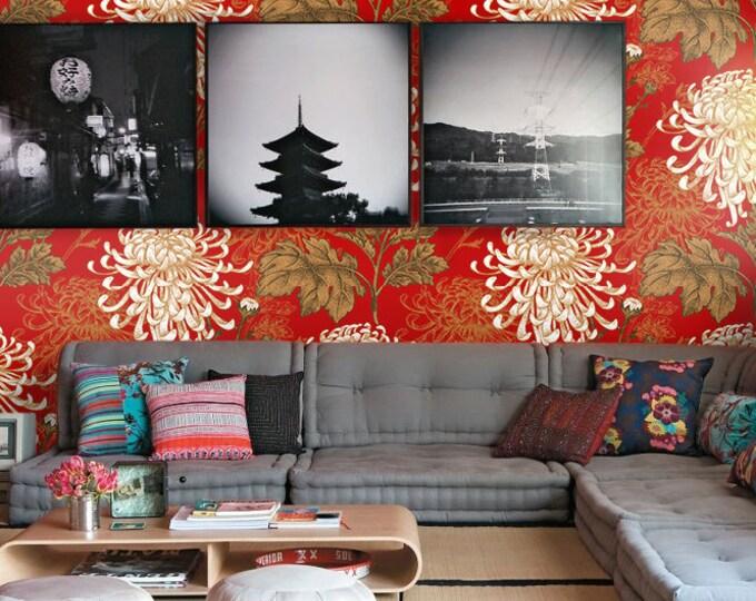 Red Japanese Flowers Wallpaper - Asian Wallpaper