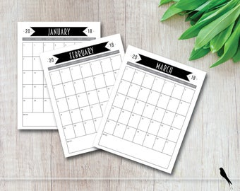 2018 Printable Wall Calendar - Tall Black Banner 12 Month Wall Calendar - Home Office Family Classroom Calendar - Instant Download