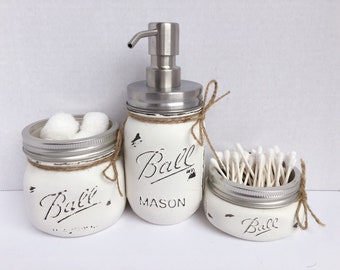 Painted Mason Jars. Bathroom Decor. Home Decor. Beach Bathroom Decor. Bathroom Set. Rustic Decor. Shabby Chic. Wedding/House Warming Gift.