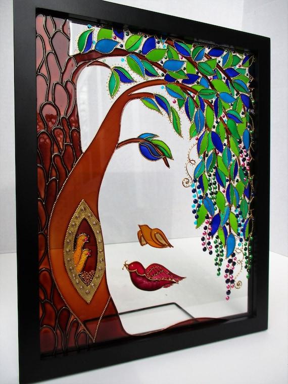 Family Tree Art Glass Painting Wall Decor Tree Of Life