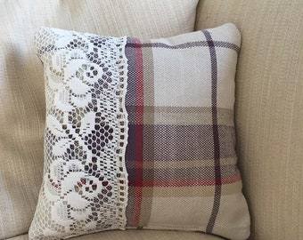 Hand made Cushion, Tartan and Lace