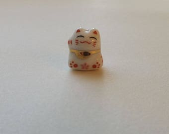 Small Porcelain Cat Bead - With pink Flower - Maneki Neko - Beckoning Cat, Lucky Cat - Raised Paw