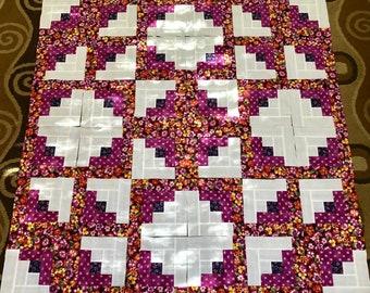 36 Burgandy PANCIES LOG CABIN Quilt Top Fabric Blocks Squares Kit