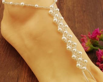 Wedding Barefoot Sandals, Barefoot Sandal Foot Bracelets, pearl Foot Jewelry, Barefoot Sandals, Pearl barefoot jewelry, bridal foot jewelry