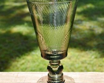 Vintage Wine Glass Set of 3 Smoke Swirl Blown Glass Retro Stemware PanchosPorch
