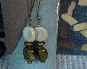 Dangle earring, brown earring, brown and cream, long earring, boho earring, handmade earring, sally beads nc, gift for her, cream and brown