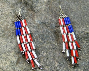 Patriotic Beaded Brick Stitched Earrings, red white blue earrings, hypoallergenic earrings, Colorful earrings, Beaded earrings, womens wear