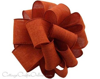 "Fall Wired Ribbon, 1 1/2"", Rust Burnt Orange Faux Linen - THREE YARDS  - Offray ""Divine"" Thanksgiving, Wedding Ribbon, Wire Edged Ribbon"