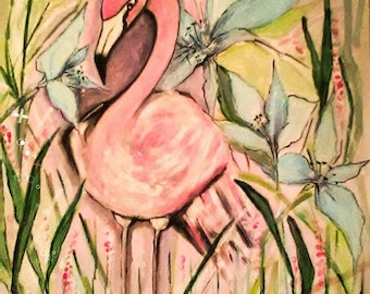 pink flamingo painting, hand painting, quadro, canvas on board, flamingo, pink, acrilic colors , artist , made in italy, pittura