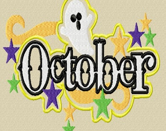 October -A Machine Embroidery Design for Halloween or October