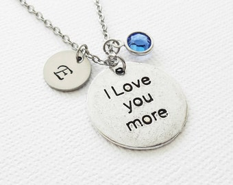 I Love You More Necklace, Valentines Day, Mothers Day, Couples Gift, Swarovski Birthstone, Silver Initial Personalized Monogram Hand Stamped