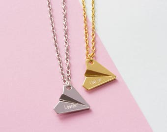 Chain paper airplane with engraving | Wish name | Origami Polygon Minimalist