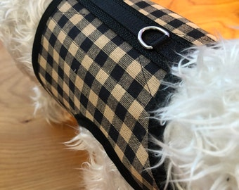 Mocha Check  Small Dog Harness Made in USA, dog harness, dog harnesses, plaid