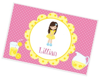 Lemonade Personalized Placemat - Lemonade Stand Girl Yellow Flower Pink Dots with Name, Customized Laminated Placemat