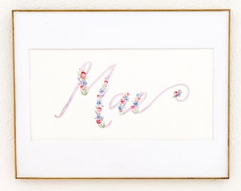 Lavender and Pink Script Custom Watercolor Name