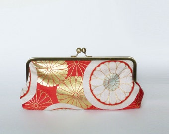 Clutch bag, red and metallic gold stylised chrysanthemum, vintage Japanese obi fabric, evening purse