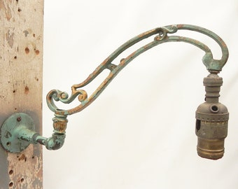 Vintage Wall Sconce Cast Iron Bridge Lamp Arm W/Swivel Fat Boy Socket Cover Parts Repurpose Assemblage Craft Supply