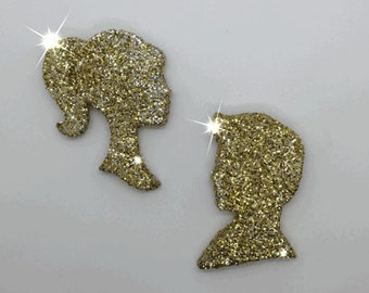 You're A Doll! Retro Boy & Girl Glitter Silhouette Wall Hangings in Gold and Silver ~ Ready to Ship!