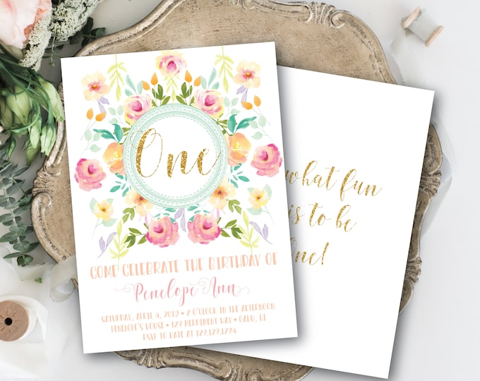 Pink Gold Glitter First Birthday Invitation with Mint Peach One Pretty Watercolor Flowers Invite Oh What Fun to be One / OAHU COLLECTION