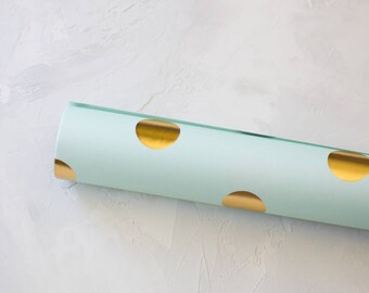 Mint Green w/ Gold Foil Polka Dots Gift Wrap / Wrapping Paper - 3 sheets