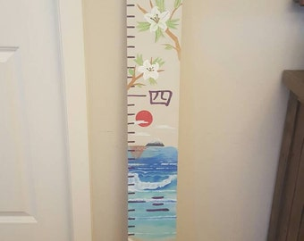 Unique One of a Kind Custom Hand Painted Wooden Growth Chart, Ocean and Lily Growth Chart