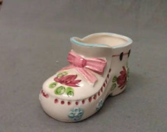 Beige Bootee Shoe with Pink Bow Tie Flowers and Colors Shoe Bootee