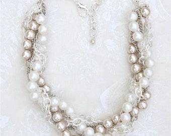 Pearl Bridal Necklace, Silver Bridal Pearl Necklace, Twisted Pearl Statement Necklace, White & Silver Bridal Pearl Necklace Champagne Pearls