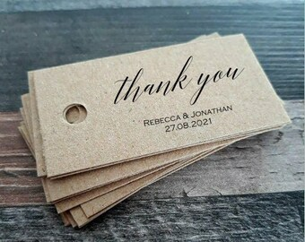 Kraft Favour Tags - Thank you  Favor Tags - handmade favour tags - Wedding favour tags - Custom listing