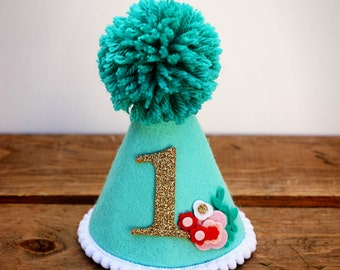 Party Hat, Birthday Hat, Smash Cake Hat, Mint Party Hat, Girls Birthday Hat, Floral Party Hat, Dog Birthday Hat, First Birthday Hat