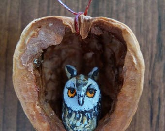 owl christmas tree ornament hand painted unique custom made