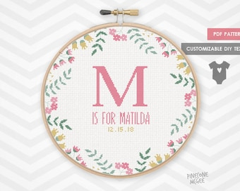 PRETTY BIRTH ANNOUNCEMENT counted cross stitch pattern, personalized baby girl sampler gift pdf