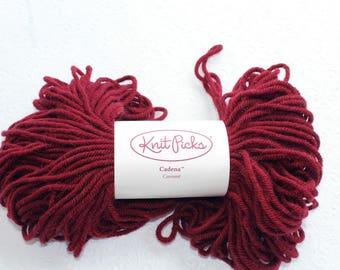 Knit Picks Cadena in Currant Red, Wool and Alpaca Blend Yarn, Destash Wool Yarn, Merlot Red Wool Yarn, Discontinued Yarn Knit Picks,