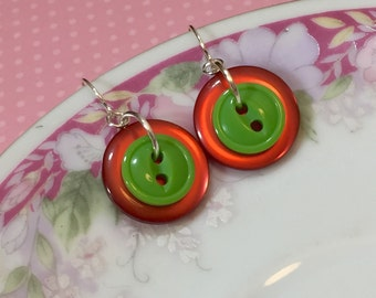 Button Earrings, Christmas Red Moon Glow, Lime Green, Short Dangles, Vintage Button Jewelry, Surgical Steel, KreatedbyKelly