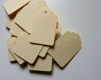 25 small plain cream card price hang gift tags - also available in white card
