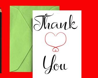 Simple thank you card - Thank you card PRINTABLE - Thank you card blank -  Wedding thank you card - Shower thank you card